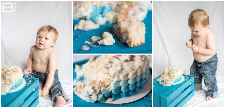 Nacogdoches photographer cake smash session with toddler boy and ombre blue scalloped cake