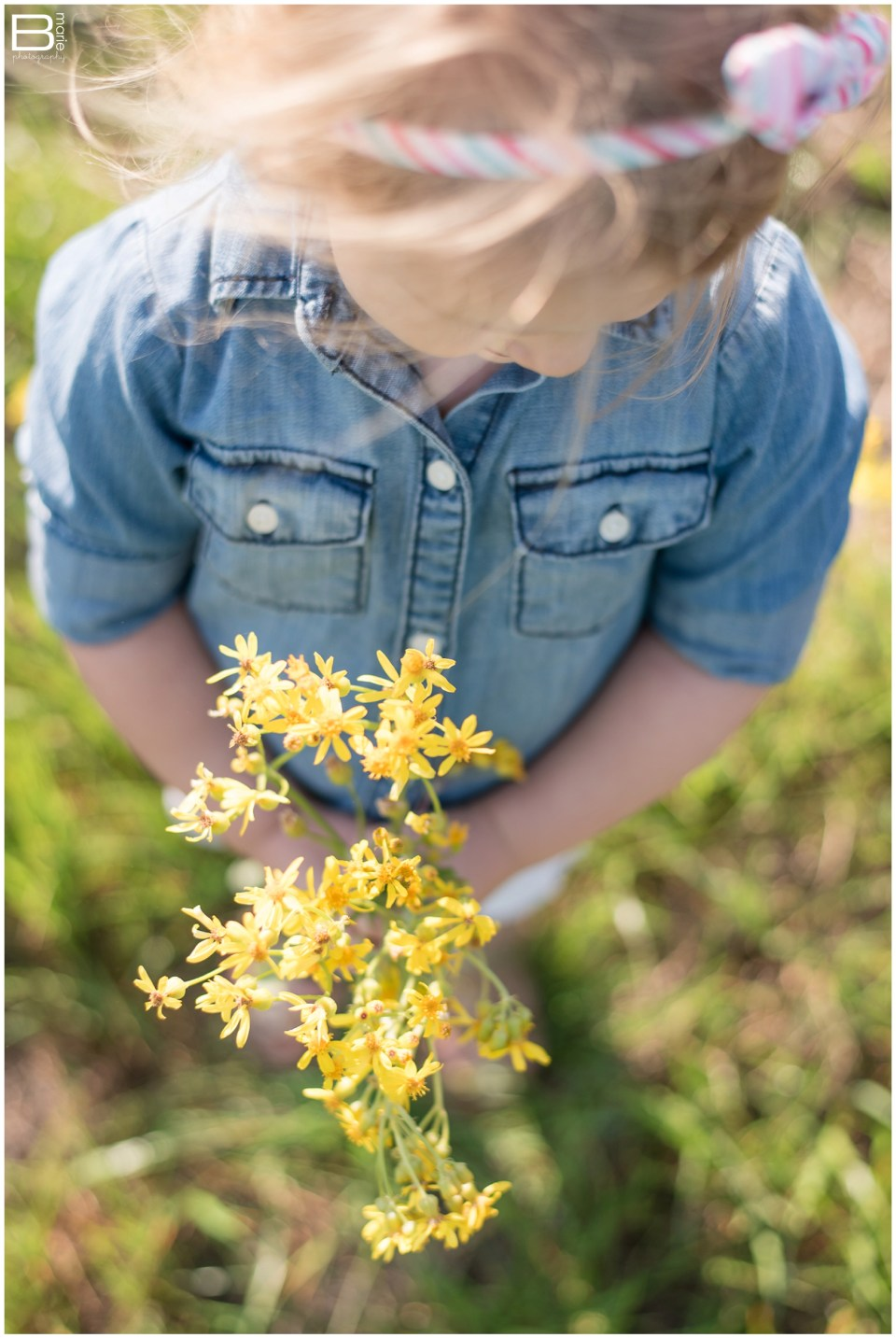 Kingwood photographer image of daughter with wildflowers