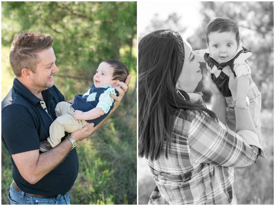 Kingwood child photographer session with 3 month old baby boy & his parents