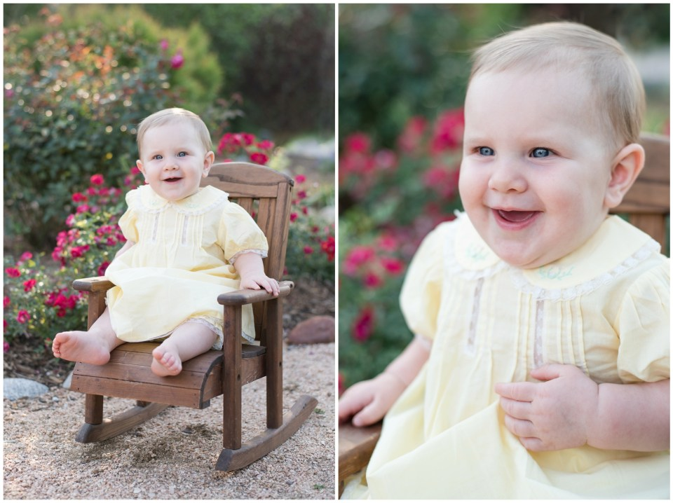 Kingwood child photographer session with 9 month old baby girl in spring garden