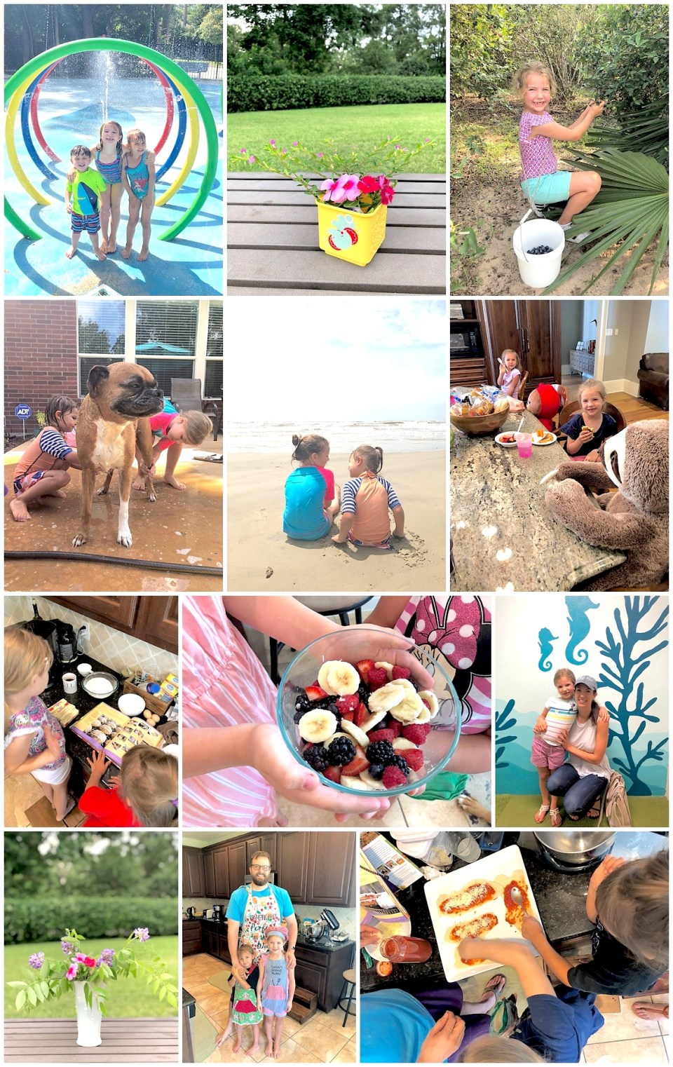 Collection of images from summertime checklist activities with 3 & 5 year old daughters