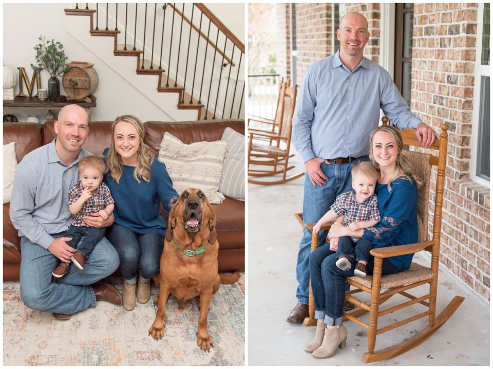 Kingwood Photographer's at home session with family of three in Friendswood