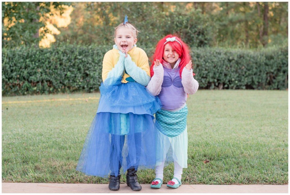Family Halloween costumes of characters from The Little Mermaid