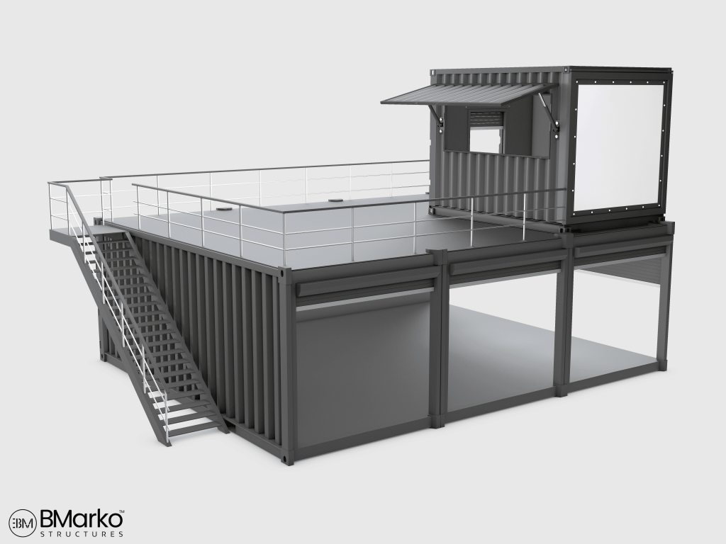 Shipping Container Restaurant With Rooftop 3