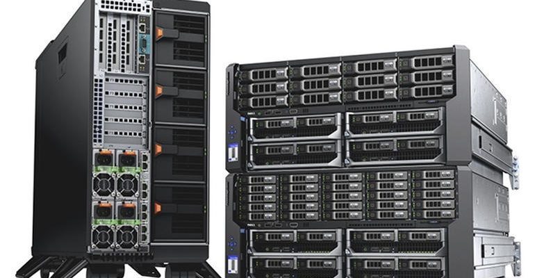 Three Dell PowerEdge VRTX servers, featuring PowerEdge VRTX chassis populated with PowerEdge M620 blade servers, GPGPU, PCIe card, and HDDs. Featuring both 2.5-inch and 3.5-inch hard drive configurations.