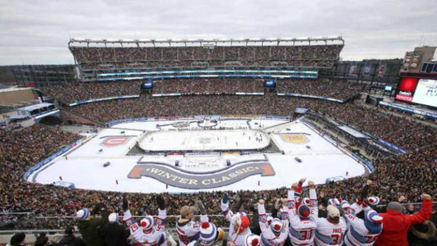 FOXBORO, MA - JANUARY 01: A general view as Montreal Canadiens fans celebrate after the first goal in the first period against the Boston Bruins during the 2016 Bridgestone NHL Winter Classic at Gillette Stadium on January 1, 2016 in Foxboro, Massachusetts.  (Photo by Jim Rogash/Getty Images)