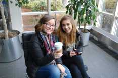 Like true journalists, Xiomara Nunez '16 and Olivia Malmstrom '16 enjoy coffee before the day begins.Photo by Noa Schabes '17.