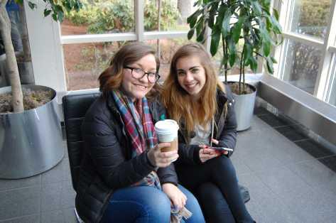 Like true journalists, Xiomara Nunez '16 and Olivia Malmstrom '16 enjoy coffee before the day begins.Photo by Noa Schabes '17.