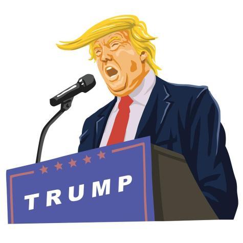 Donald Trump Giving A Speech Vector Caricature