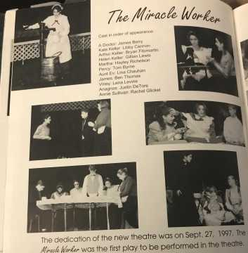 "Rachel Glickel Bennett '00 played ""Annie"" in ""The Miracle Worker,"" the inaugural play in the new theatre. From the 2000 yearbook."