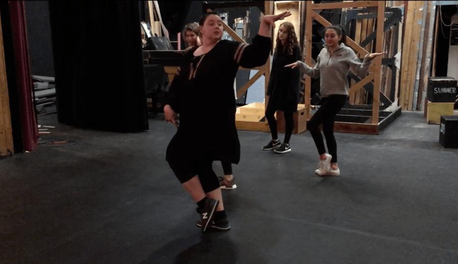 Ingrid Oslund, the new musical Choreographer, teaching students. Photo by Sadie Goodman '18.