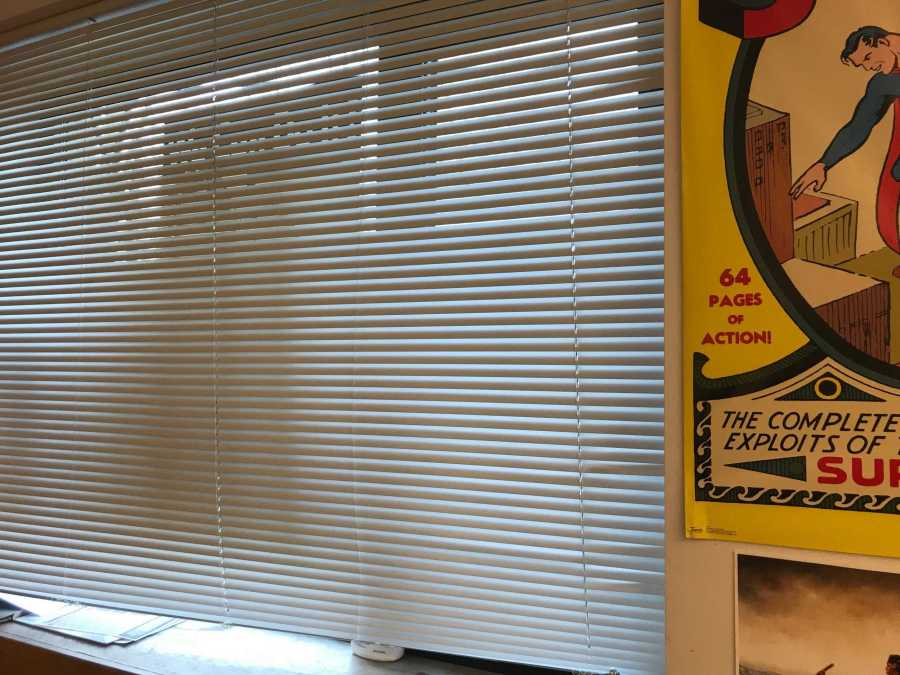 During a lockdown drill, the blinds are closed in David Cutler's classroom. Gator file photo.
