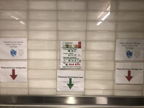 New signs in the dining hall direct students where and what to compost. Photo by Sita Alomran '19.