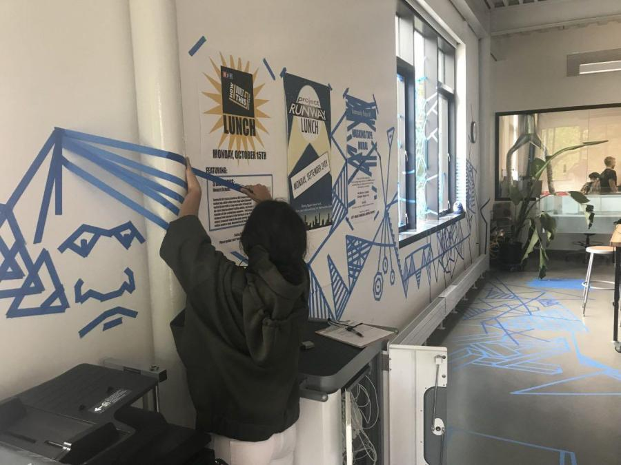 Sita Alomran '19 participates in the community art project. Photo by Jared Heller 19.
