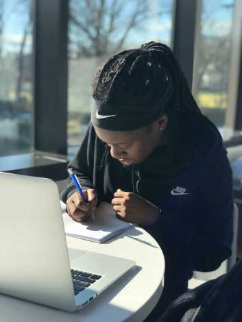 Breanna Durand '20 doing her homework during a free period. Photo by Sita Alomran '19.