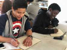 Jacob Mejia Levy '21 and Quinton Nsamba '21 in Drawing and Painting class. Photo by Sita Alomran '19.