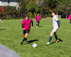 Olivier Khorasani '20 defends as a BCA player attempts to make a goal.