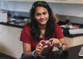 In Digital Fabrication, Grace Kandiah '23 shows off her very own stopwatch, which she soldered and programmed herself.