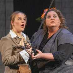 Cassandra Abodeely as Mother shows Samantha Estrada '20 as D'Artagnan how to fight in battle.