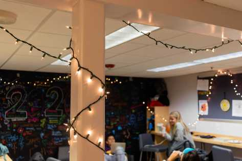 The Senior Lounge is all decorated for the holiday season!