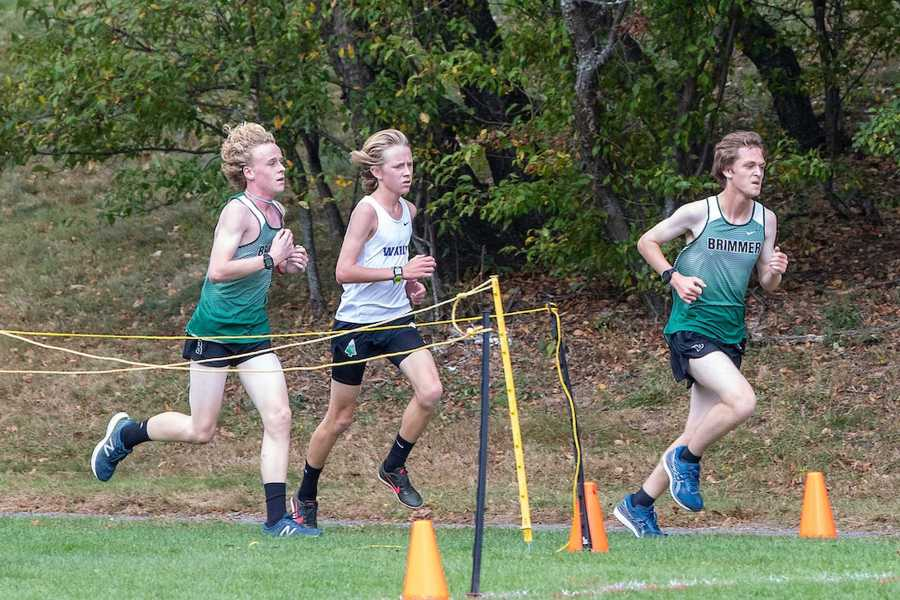 Richard O'Keefe '20 leads the field at an early cross country race. Photo by David Barron.
