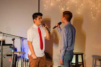 Stephen Moreno Jimenez '20 and Elias Kazin '20 share the spotlight in a duet.