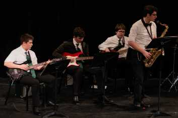 "Upper School Ensemble students play ""25 or 6 to 4"" by Robert Lemm."