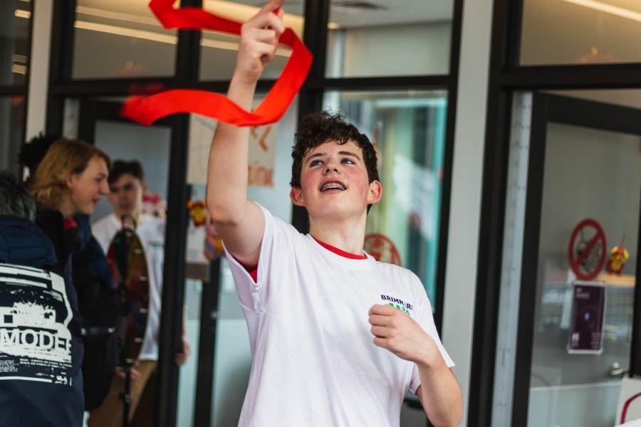 Kieran Cross '23 spins a ribbon.