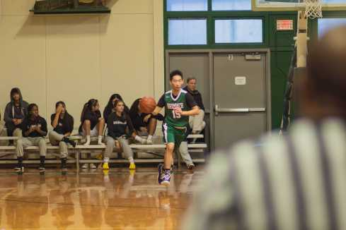 Leo Wen '21 makes his way down the court.