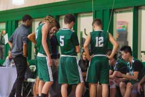 The team listens to their coach for instructions during a timeout.