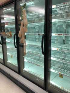 The frozen fruits and vegetables gone at Stop and Shop. Photo by Caroline Champa '20