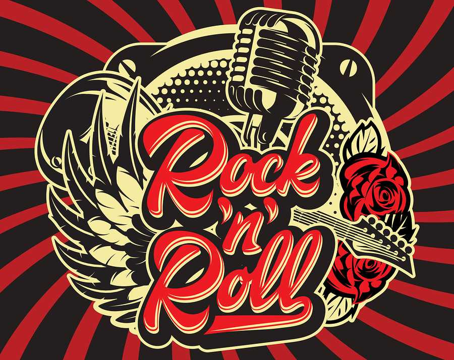 Stylish vector template for printing on the theme of rock music with a calligraphic inscription rock n roll.