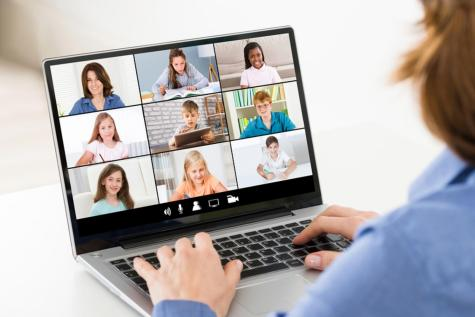 Teacher hosting online class using video conference. Purchased from BigStock.com.