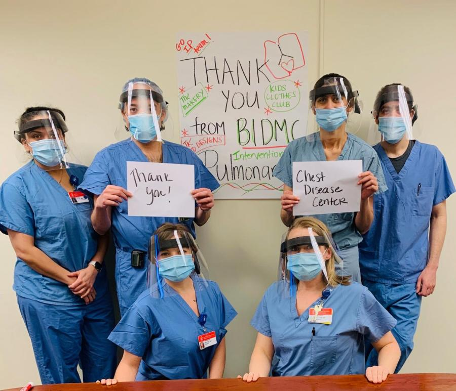 Healthcare workers thank the Kids Clothes Club for their mask donations. Photo courtesy of Faith Michaels.