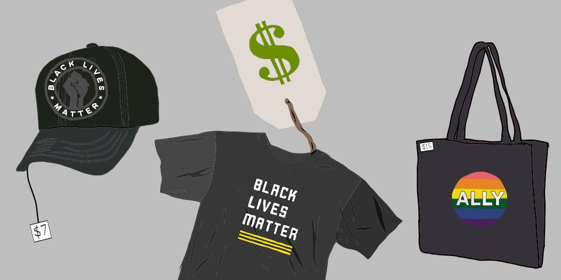 Black Lives Matter and Pride apparel for sale. Digital Illustration by Edan Zinn