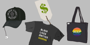 Black Lives Matter and Pride apparel for sale. Digital Illustration by Edan Zinn '23.