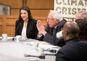 Representative Alexandria Ocasio-Cortez and Senator Bernie Sanders, two U.S. politicians who are self-proclaimed democratic socialists. Photo courtesy of Wikimedia Commons.