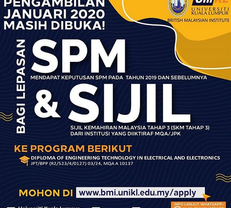 Pengambilan Januari 2020 ke Program Diploma of Engineering Technology in Electrical and Electronics