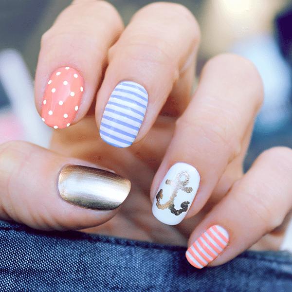 Nautical Nails 16 Cute Nail Art Ideas