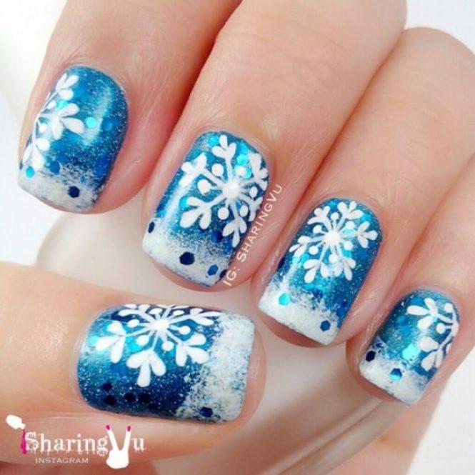 Snowflake Nail Art Design
