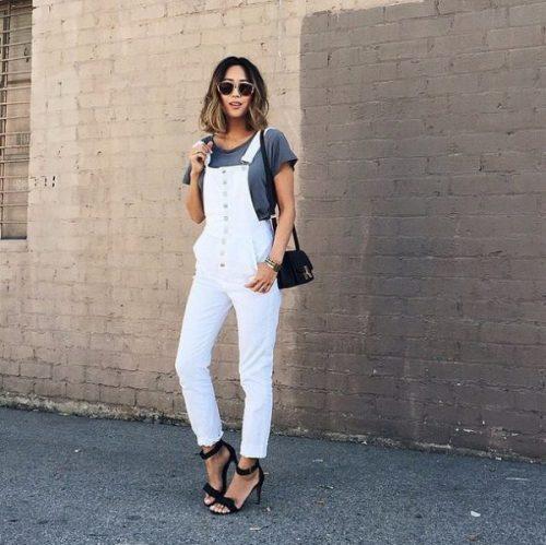 Denim Fashion White Jean Overalls