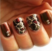 crispy and fun brown nail design