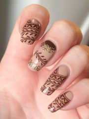crispy and fun brown nail design