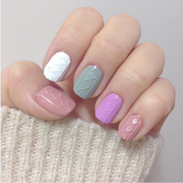 Pastel Knit Nail Art Bmodish