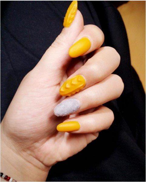 Yellow Knit Sweater Nail Design Bmodish