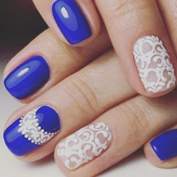 Lace Royal Blue Nail Art Bmodish