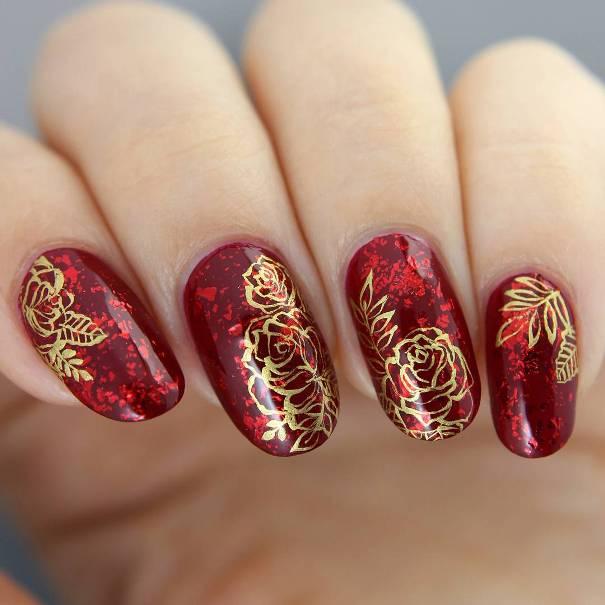 50 Luminous Red and Gold Nail Designs   Be Modish