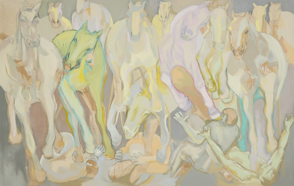 "Hurt So Good, 2013 oil on canvas, 84"" x 134"""