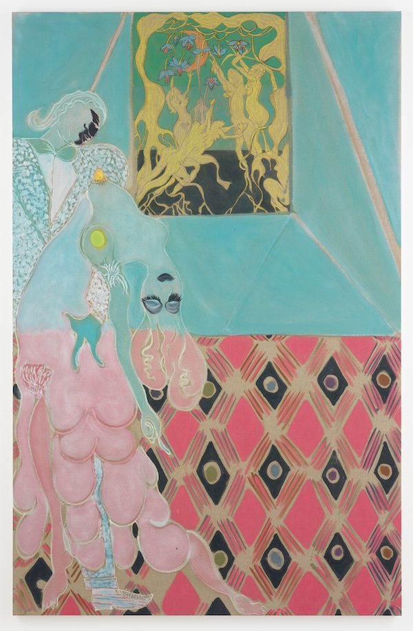 Chris Ofili, Ovid-Desire, 2011–12. Oil, pastel, and charcoal on linen, 122 x 78 3/4 in (310 x 200 cm). © Chris Ofili. Courtesy the artist, David Zwirner, New York / London and Victoria Miro, London