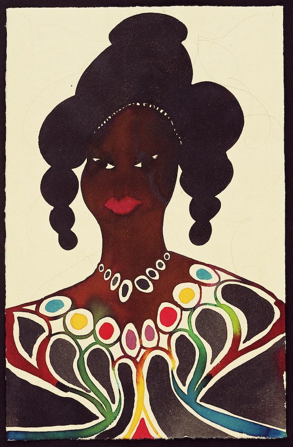 """Chris Ofili, """"Untitled (Afromuse),"""" 1995–2005. Watercolor and pencil on paper, 9 3/5 x 6 1/5 in (24.3 x 15.7 cm). © Chris Ofili. Courtesy the artist, David Zwirner, New York / London and Victoria Miro, London"""